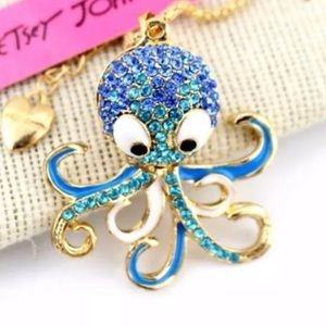 Betsey Johnson Octopus 🐙 Necklace Blue & Gold NWT